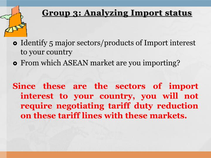 Group 3: Analyzing Import status