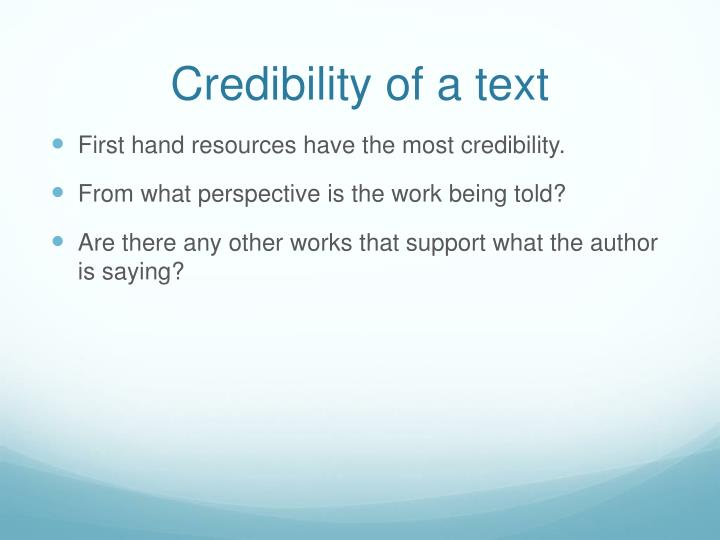 Credibility of a text