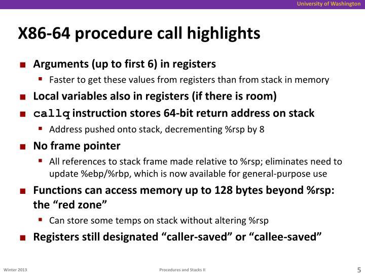 X86-64 procedure call highlights
