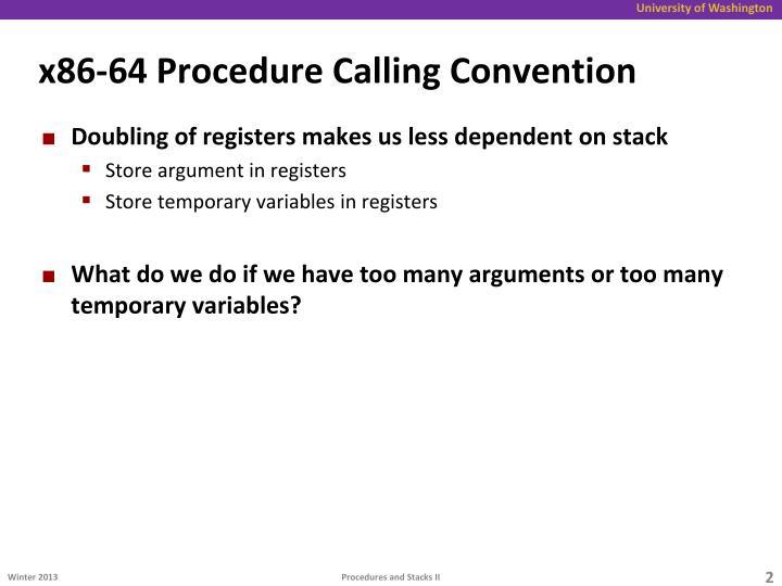x86-64 Procedure Calling Convention