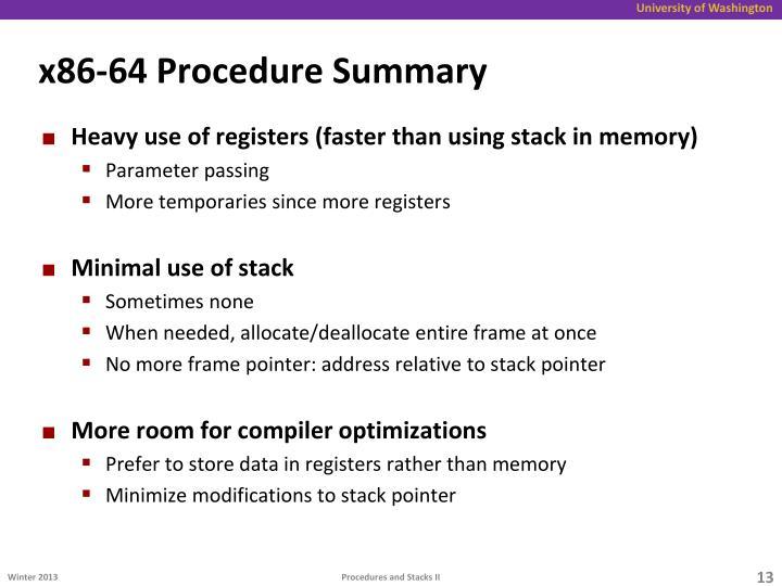 x86-64 Procedure Summary