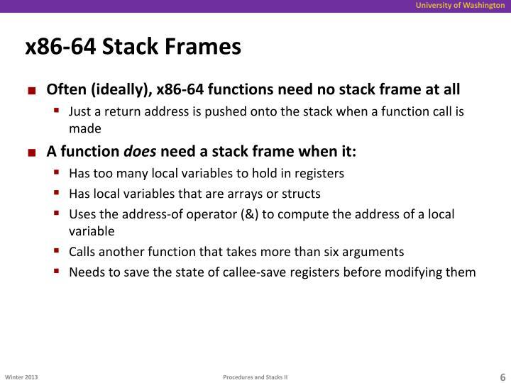 x86-64 Stack Frames