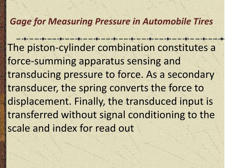 Gage for Measuring Pressure in Automobile Tires