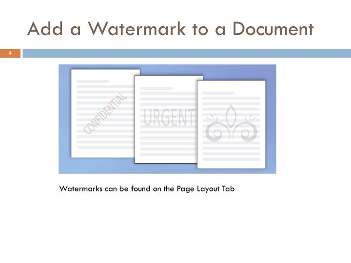 Add a Watermark to a Document