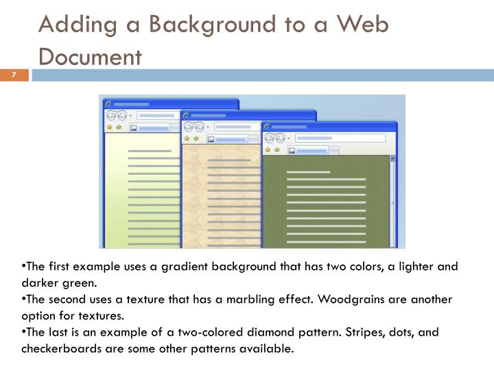 Adding a Background to a Web Document