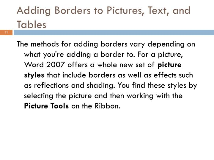 Adding Borders to Pictures, Text, and Tables