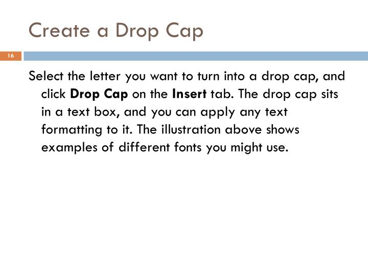 Create a Drop Cap