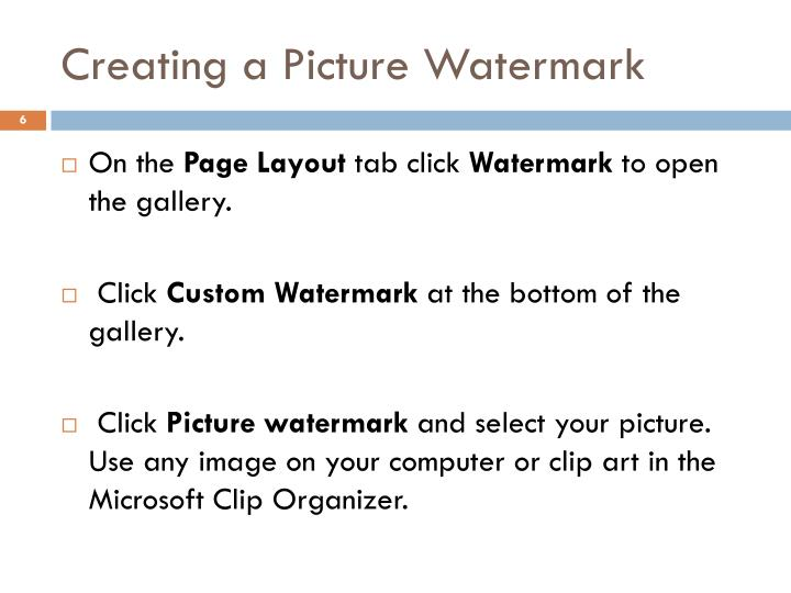 Creating a Picture Watermark