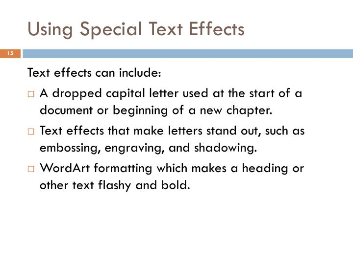 Using Special Text Effects