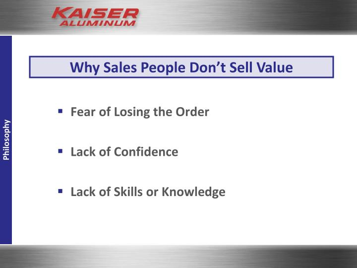 Why Sales People Don't Sell Value