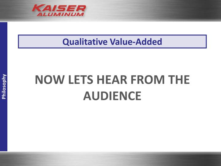 Qualitative Value-Added