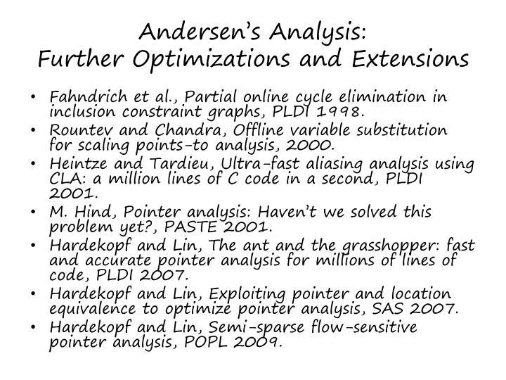 Andersen's Analysis: