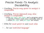 precise points to analysis decidability