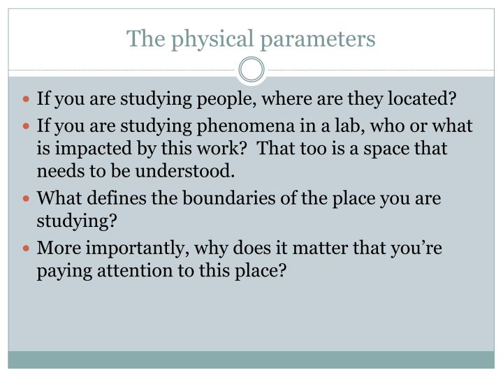 The physical parameters