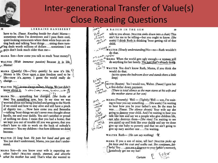 Inter-generational Transfer of Value(s