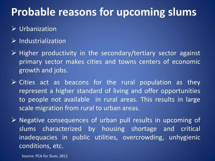 Probable reasons for upcoming slums