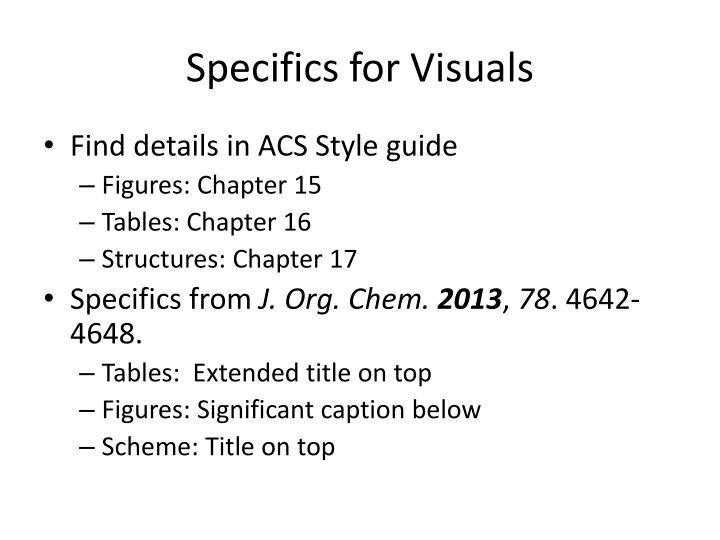 Specifics for Visuals