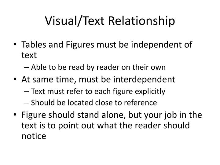 Visual/Text Relationship
