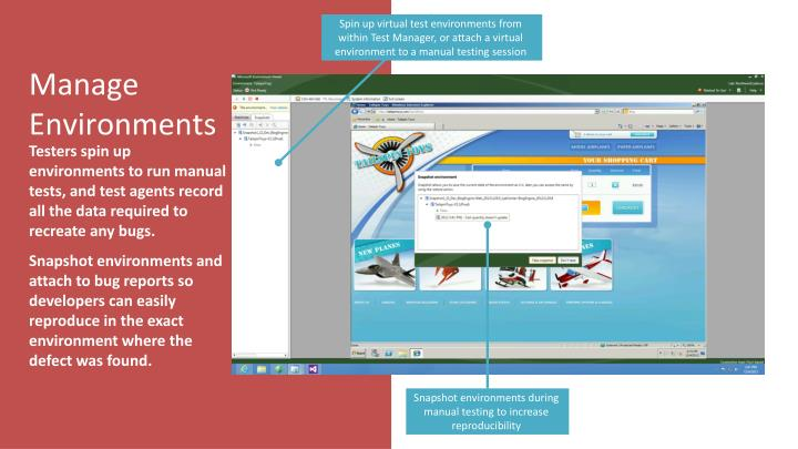 Spin up virtual test environments from within Test Manager, or attach a virtual environment to a manual testing session