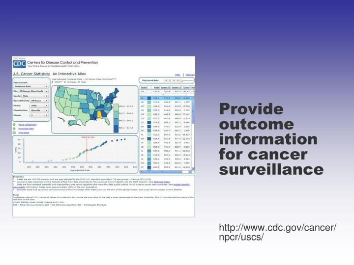 Provide outcome information for cancer surveillance