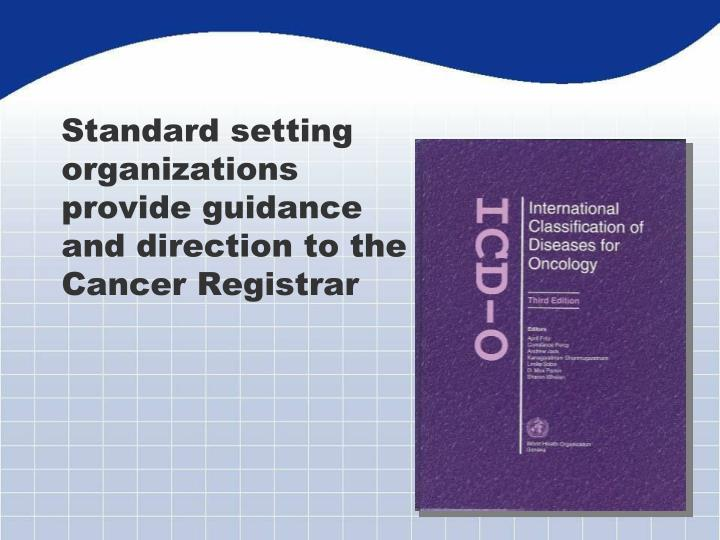 Standard setting organizations provide guidance and direction to the Cancer Registrar