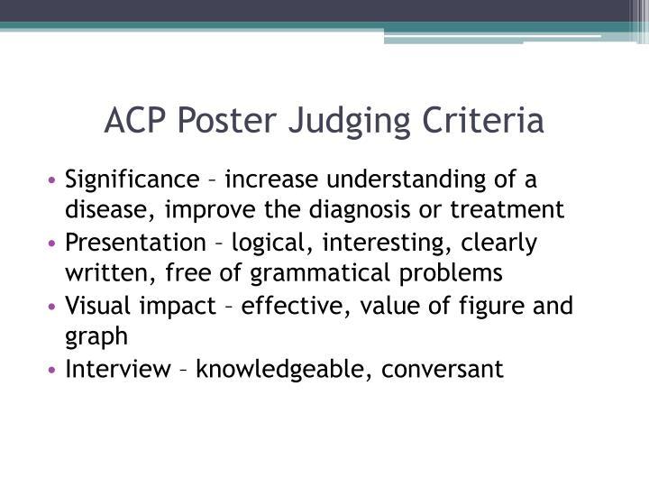 ACP Poster Judging Criteria