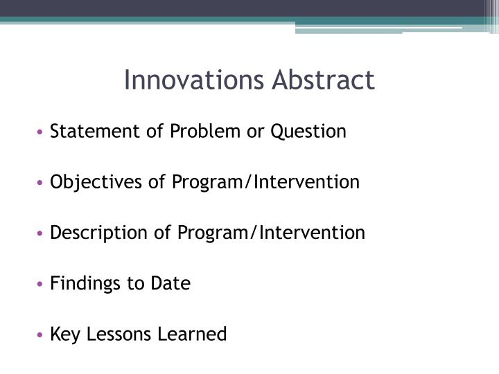 Innovations Abstract