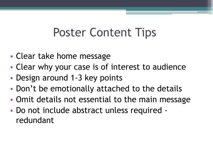 Poster Content Tips
