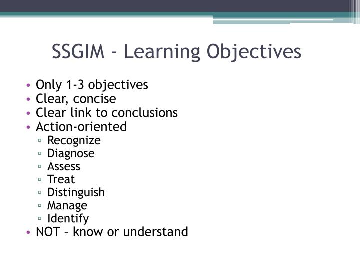 SSGIM - Learning Objectives