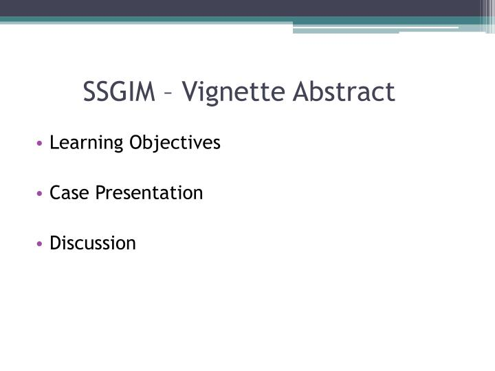 SSGIM – Vignette Abstract