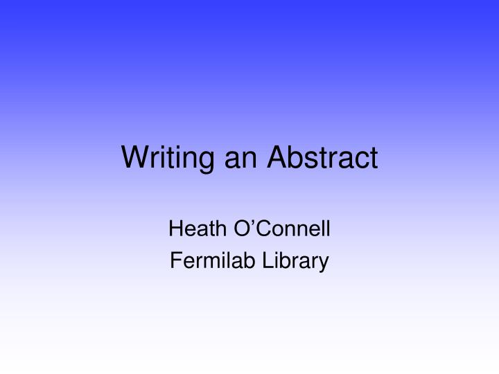 Writing an abstract