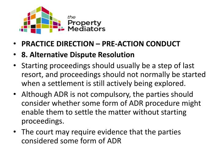 PRACTICE DIRECTION – PRE-ACTION