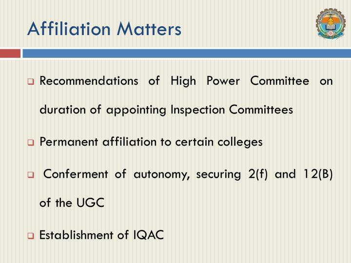 Affiliation Matters