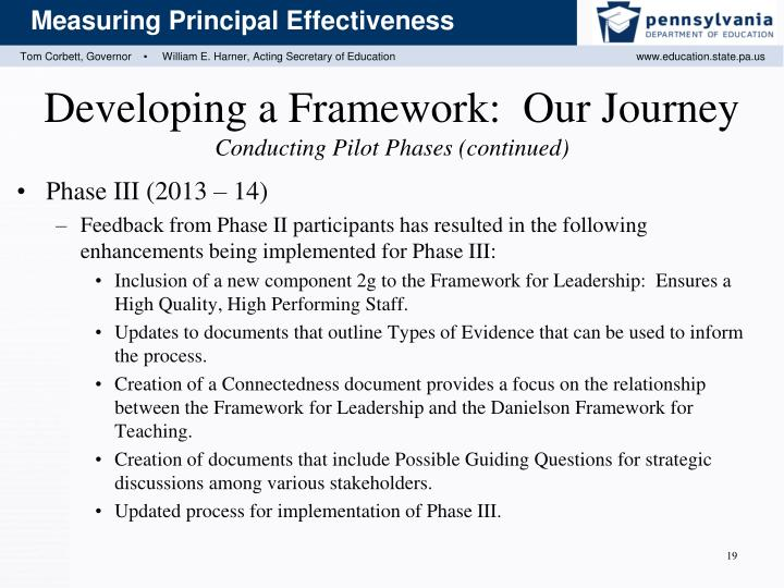 Developing a Framework:  Our Journey