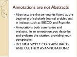 annotations are not abstracts