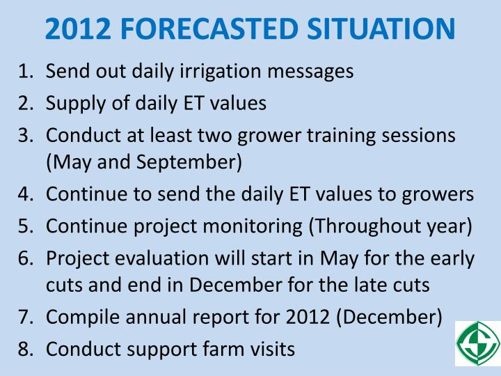 2012 FORECASTED SITUATION