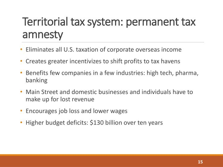 Territorial tax system: permanent tax amnesty