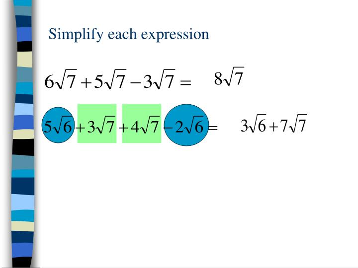 Simplify each expression