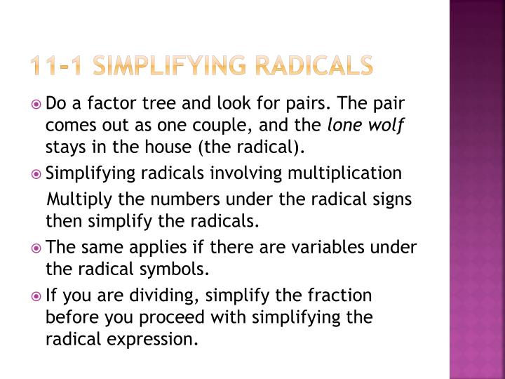11-1 Simplifying radicals