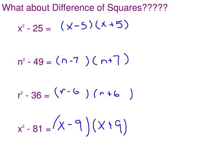 What about Difference of Squares?????