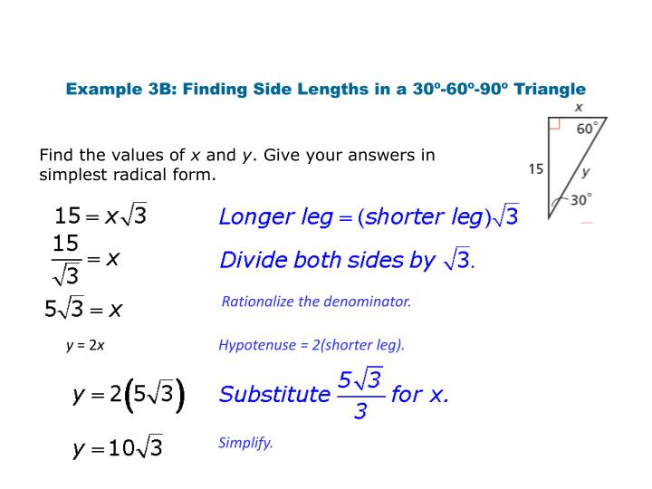 Example 3B: Finding Side Lengths in a 30º-60º-90º Triangle