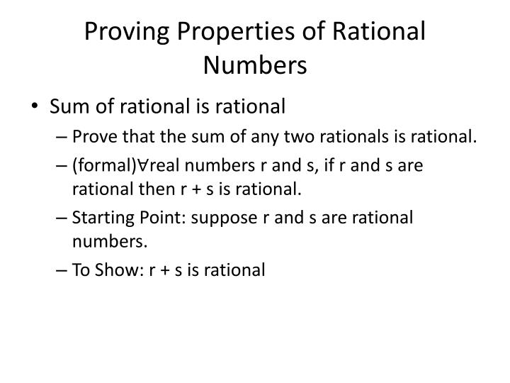 Proving Properties of Rational Numbers