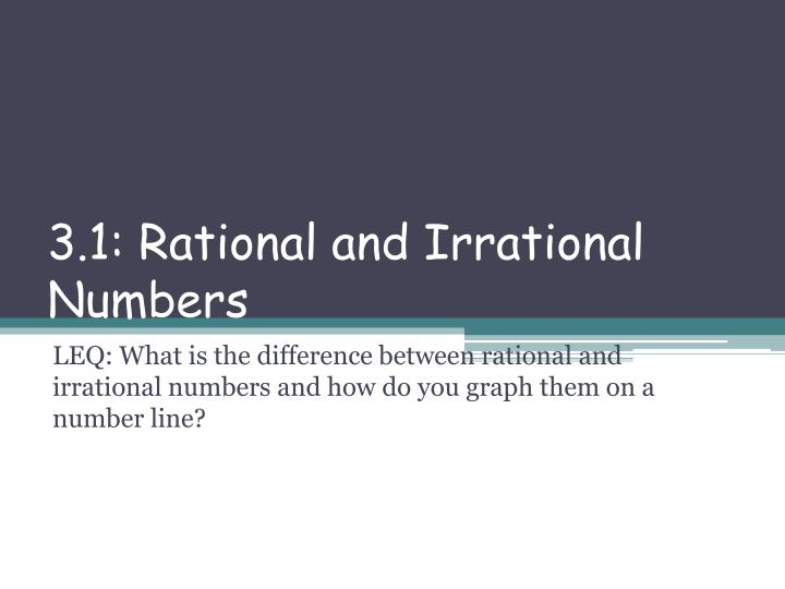 3.1: Rational and Irrational Numbers