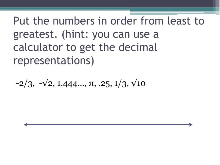 Put the numbers in order from least to greatest. (hint: you can use a calculator to get the decimal representations)