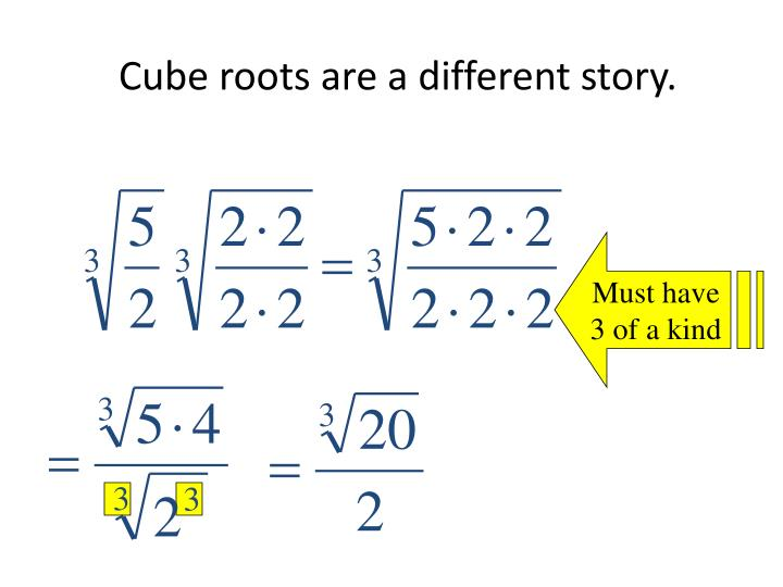 Cube roots are a different story.