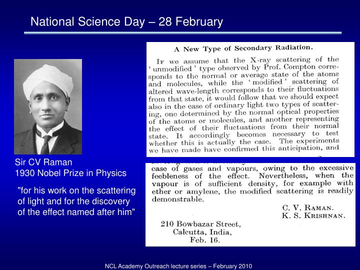 National Science Day – 28 February