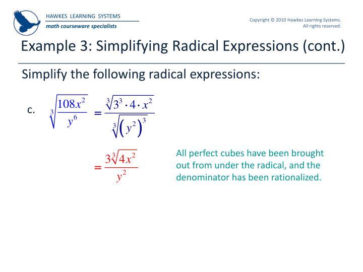 Example 3: Simplifying Radical