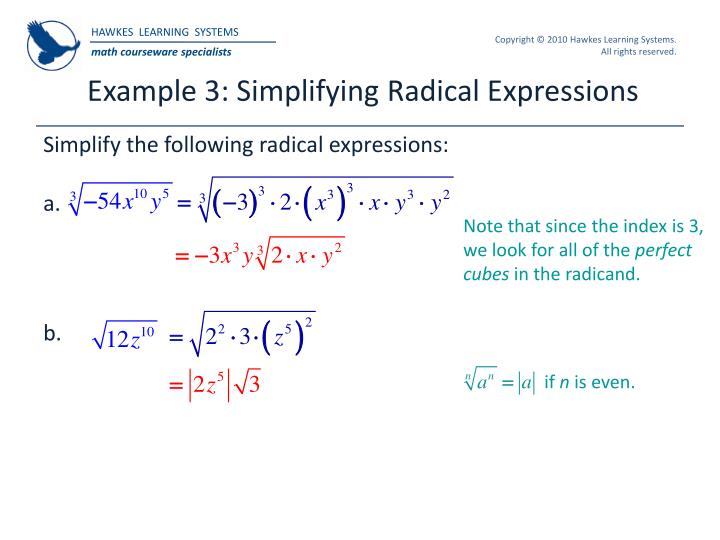 Example 3: Simplifying Radical Expressions