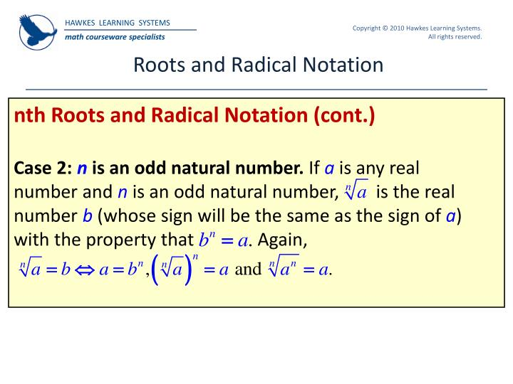 Roots and Radical Notation