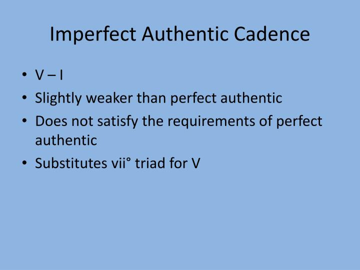 Imperfect Authentic Cadence